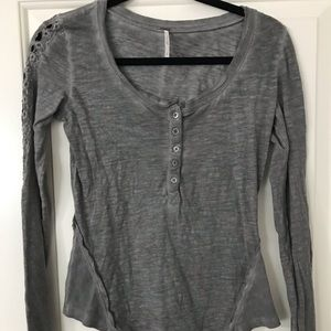 Gray Long Sleeve detailed Button up